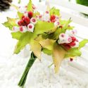 Mini Bouquet Flower Stamen - Big Glass Head, Pinkish red, 10 pieces, Long 9cm, [ST1121]